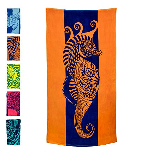 "Nova Blue Seahorse Beach Towel – Blue and Orange with A Tropical Design, Extra Large, XL (34""x 63"") Made from 100% Cotton for Kids & Adults"