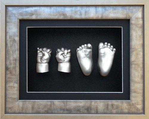 BabyRice 3D-Gips-Set für Jungen, Mädchen, Zwillinge, Geschwister, Urban-Zinn, Silberrahmen, Metallic-Silber-Farbe – von BabyRice