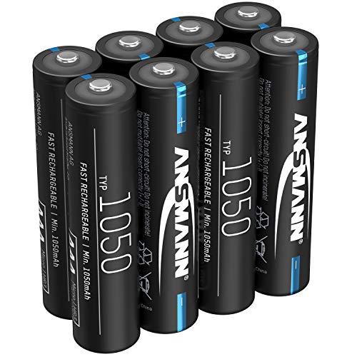 ANSMANN Akku AAA 1050mAh NiMH 1,2V - Micro AAA Batterien wiederaufladbar, hohe Kapazität ideal für hohen Strombedarf wie Taschenlampe, Modellbau, Elektronisches Werkzeug, Kamera (8 Stück)