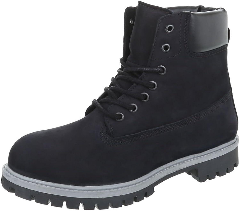 Ital-Design Stiefeletten Leder Leder Damen- Und Herren-Schuhe Combat Stiefel Blockabsatz Schnürer Schnürsenkel Stiefel Schwarz, Gr 44, Tm-  Sparen Sie 50% -75%!