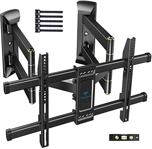 Corner TV Wall Mount Full Motion- Corner TV Bracket Fits 37-65 Inch LED, LCD 4K Flat Curved Screen TVs- Hold up to 99 lbs Max VESA 600x400 W/Tilt, Swivel and Level