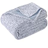 KAWAHOME Knit Blanket Lightweight Breathable Fuzzy Heather Jersey Blanket for Couch Sofa Bed King Size 108 X 90 Inches Blue and White