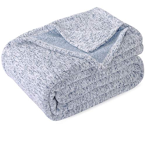 KAWAHOME Summer Knit Blanket Lightweight Breathable Fuzzy Heather Jersey Blanket for Couch Sofa Bed King Size 108 X 90 Inches Blue and White