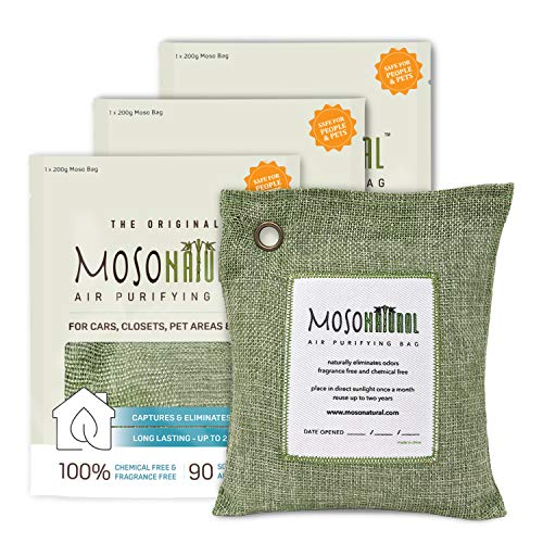 MOSO NATURAL Air Purifying Bags. Odor Eliminator and Odor Absorber. (3) Individually Sealed 200g Green Deodorizer Bags