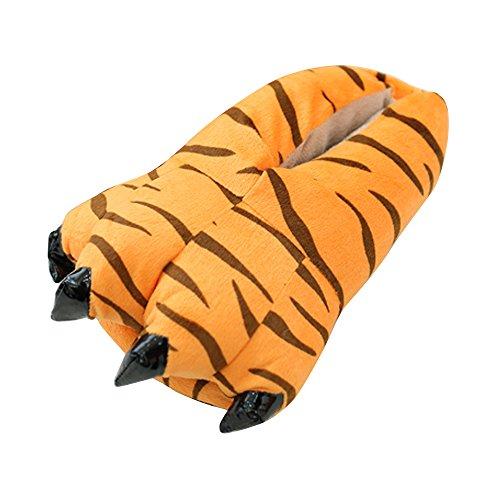 OCHENTA Hausschuhe Unisex Tier Fantasie Plüsch Hausschuhe Pfotenabsatz Cosplay, - tiger - Größe: 26/32 EU