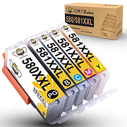 CMYBabee PGI-580XXL CLI-581XXL Tintenkompatibel für Canon 580 581 Tintenpatrone Kompatibel für Canon Pixma TS6150 TS6151 TS6250 TR8550 TS8250 TS8150 TS8151 TS8251 TR7550 TS9150 TS9155 TS9550 (5 Pack)