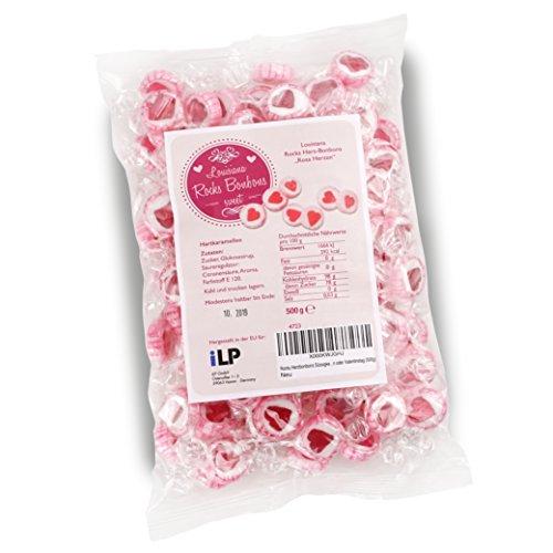 WeddingTree Herzbonbons Rosa - 500g Rocks Bonbons handgewickelte Süßigkeiten Großpackung - Tischdeko zu Hochzeit Taufe Valentinstag Muttertag Kommunion