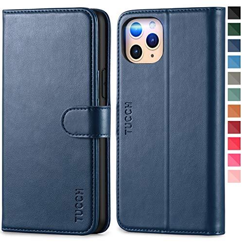 TUCCH iPhone 11 Pro Hülle, Auto Sleep/Wake, TPU Handyhülle mit 3 Kartenfächern, Lederhülle Klappbar, Brieftasche für iPhone 11 Pro, 5.8 Zoll, Blau