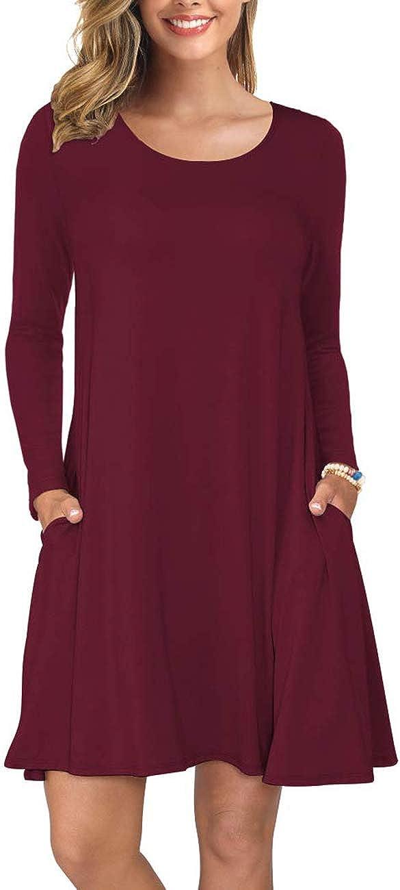 DUNEA Women Casual Loose Tshirt Dress Swing Tunic Dress for Women with Pockets