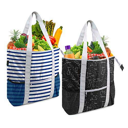 BeeGreen Kühltasche, 2 Stück, isolierte Thermobeutel für kalte und warme Lebensmittel, robuste Lebensmittel, wiederverwendbar, mit Reißverschluss oben, lange Griffe, Schwarz, Blau, Weiß