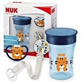 NUK Magic Cup & Set, Magic Cup Trinklernbecher, Space Schnuller & Schnullerkette, 6+ Monate, BPA-frei, Tiger/Blau, 3 Stück