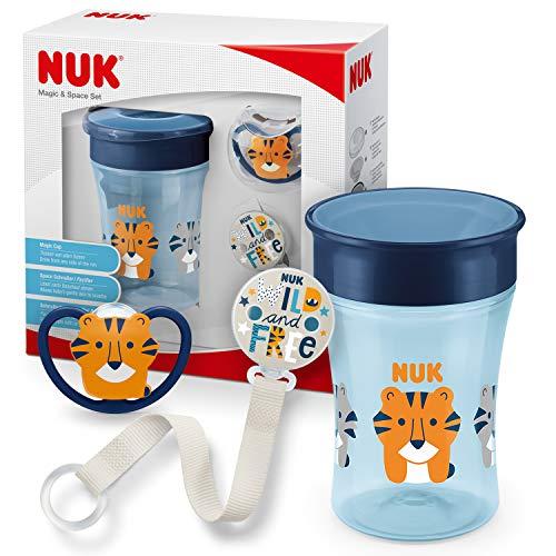 NUK Magic Cup & Set, Magic Cup Trinklernbecher, Space Schnuller & Schnullerkette, 6+ Monate, BPA-frei, Tiger/Blau, 3 Stück