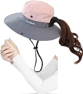 Kukcone Women's UV Protection Wide Brim Mesh Foldable Summer Sun Hat,Outdoor Hiking Camping Fishing Beach Sun Cap (Pink)