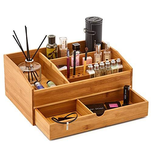 EZOWare Grande Organizador de Maquillaje de Bambu, Caja Organizadora con Cajon para Make-up, Cosmeticos, Joyeria, Escritorio, Oficina
