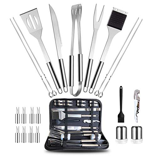 SANDEWILY 22pcs Barbecue Accessories Kit & Foldable Storage Bag,Stainless Steel Grill Utensils Set,Professional BBQ Tools for Outdoor Garden Party Cooking Camping,Nice Gift for Dad Friends