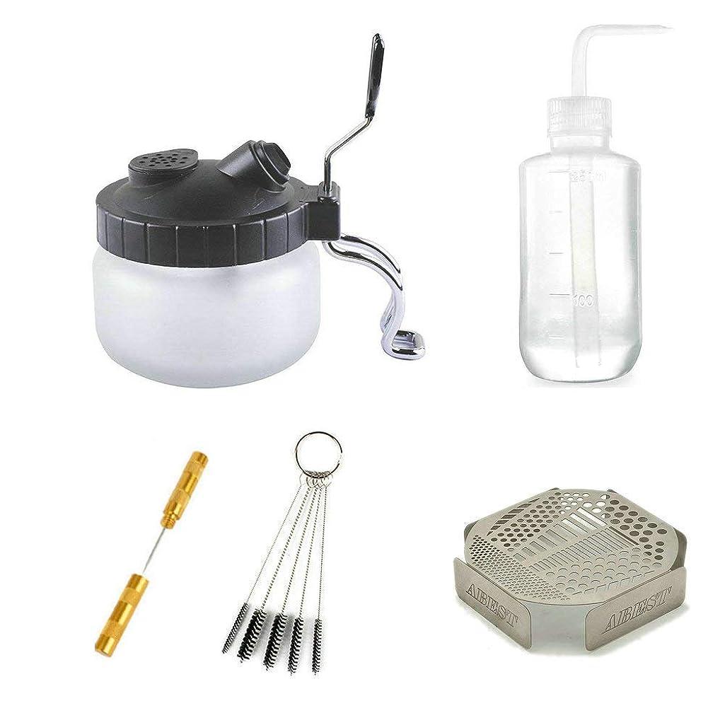 HUBEST 5 Sets Multi Purpose Airbrush Brush Holder Washing Cleaning Glass Pot Jar Oil Painting Brush Pen Washing Support Cleaning Brush Nozzle Repair Tools Plastic Bottle