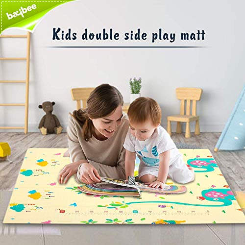 Baybee Baby Play Mat, Foldable Crawling Mat, Double Sided Water Proof Baby Mat, Multi-Purpose Floor Mat for Baby, Extra Thick Foam Mat Size W-176cm X H-195cm Playmat for Babies