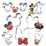 Set di 8 pezzi formine per biscotti Mickey Minnie - Formine per taglierine per biscotti in acciaio inossidabile, stampi per panini per pane bambini