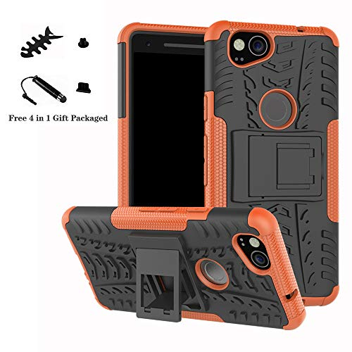 Google Pixel 2 case,LiuShan Shockproof Heavy Duty Combo Hybrid Rugged Dual Layer Grip Cover with Kickstand For Google Pixel 2 Smartphone (With 4in1 Packaged),Orange