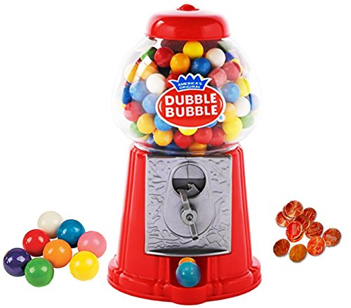 PlayO 8.5' Coin Operated Gumball Machine Toy Bank - Dubble Bubble Classic Red Style Includes 45 Gum Balls - Kids Coin Bank (Machine)
