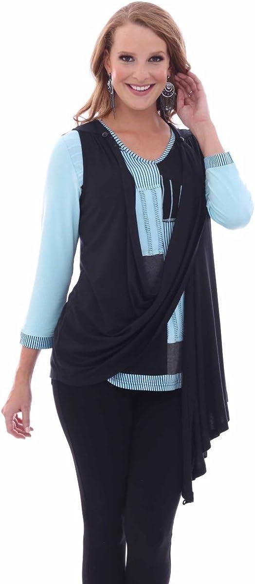 Parsley & Sage Women's Solid Black Convertible Button Vest Plus Size