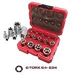 Neilsen - Juego de llaves de vaso torx hembra E4 a E24 en caja con caja de...
