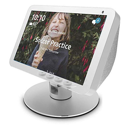 Echo Show 8 Adjustable Aluminum Swivel Stand, Eight Rare-Earth Magnets on The Top Stand for Amazon Echo Show 8, Horizontal 360 Rotation Longitudinal Angle Change Base argenteria ES012-02 IT