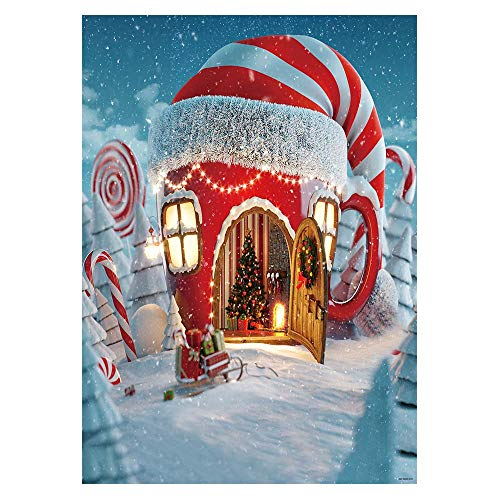 Funnytree 5x7ft Vinyl Christmas Candy Cup House Photography Backdrop Snow Pine Tree Red and White Stripes Background Children Newborn Baby Portrait Photo Studio Photobooth Props