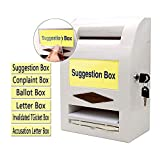 Suggestion Box,Donation Box,Mail Box,Comment Box, Locking and Pen for Wall or Countertop,6 replaceable tags