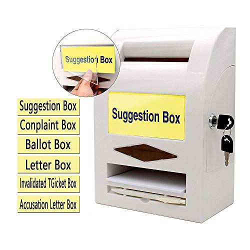 Buzón de Sugerencias, Buzón de Donaciones, Buzón de Correo, Buzón de Comentarios, Bloqueo y Pluma para Pared o Encimera, 6 etiquetas reemplazables