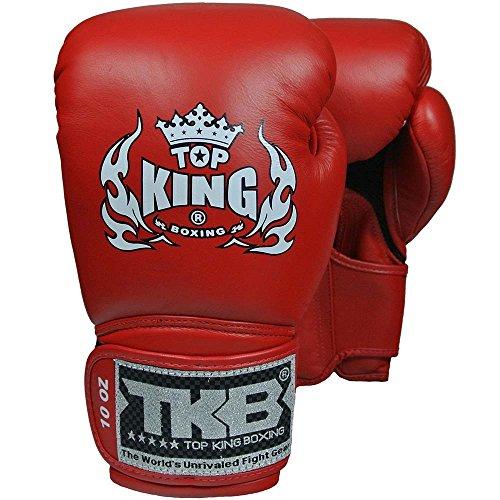 TOP KING Boxhandschuhe, Super Air, Leder, rot, Boxing Gloves, Muay Thai, Leder Size 12 Oz