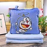 LIJUNQI Doraemon - Manta de viaje y almohada de Hello Kitty, suave manta de avión 2 en 1 con funda...