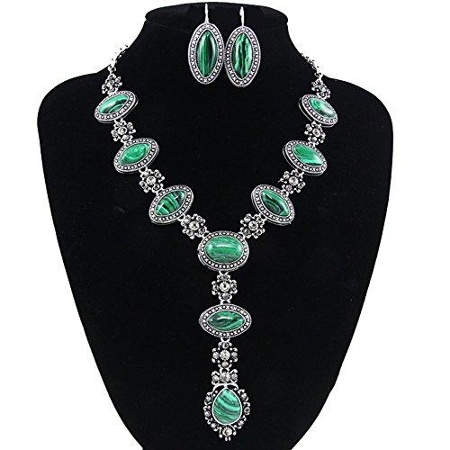 JASNO Frauen Halskette Ohrringe Setzen Inlay Grünen Edelstein Mädchen Lady Retro Modeschmuck Accessoires Sets