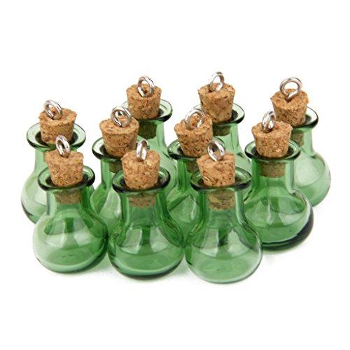 Generic Lot de 10 Petites Fioles de Bouteille en Verre à Base Plate en Liège avec Pendentif Mariage Vert