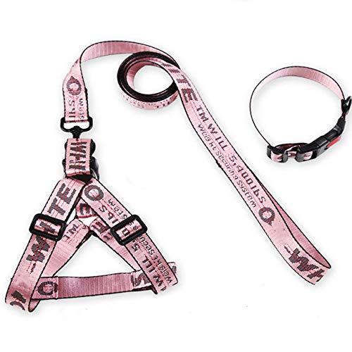 ZIYUAN Dog Collar Dropshipping Fashion Dog Collar Harness Leash Set Letter Print Dog Walking Out Leading Nylon Rope French Bulldog Training Supply,Pink,M