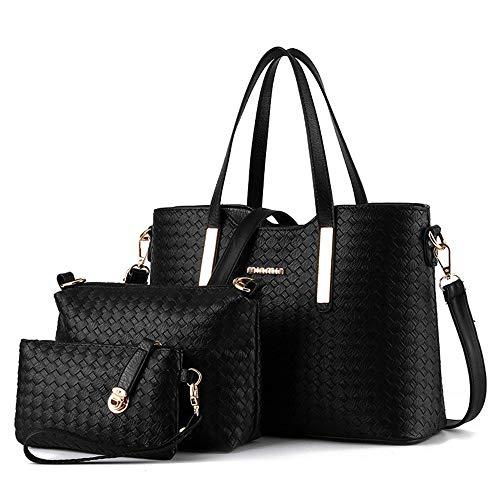 AlwaySky Pu-leder Mode Handtasche Set Umhängetaschen Totes Weave Design Geldbörse 3 Stück Set für Frauen Schwarz