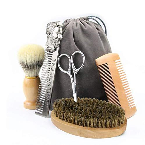 Meirrai Kit Barba Barba Cuidado Hombres y Estética 5 en 1, Set Cuidado Barba Peine Brocha de Afeitar la Barba Cepillo Set Styling (Light suit)