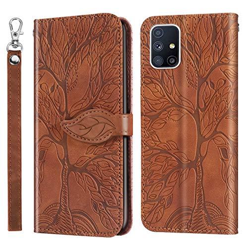 AsWant Funda para Galaxy A51 de piel sintética con diseño de árbol en relieve, suave TPU tipo cartera, con tapa protectora magnética, función atril para Samsung Galaxy A51, color marrón