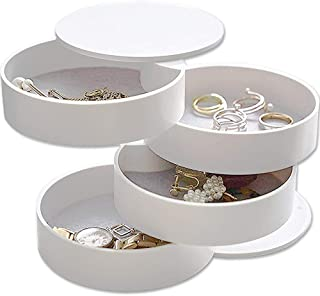 White Rotatable Jewelry Organizer Box,4-Layer Travel Jewelry box,360°Rotating Jewelry Box with Lid for Earrings,Necklace,H...