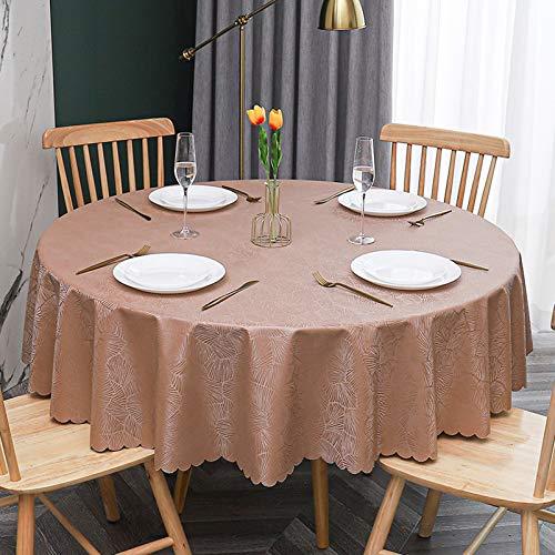 WHDJ Nappes imperméables, Nappe Ronde en PVC pour Restaurant de fête Mariage étanche à l'huile Anti-brûlure essuyer la Couverture de Table Propre