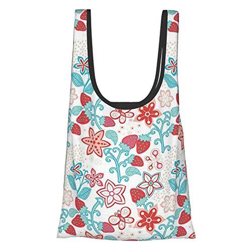 Flores lindas flores mariquitas mariposas fresas niños guardería patrón es oscuro coral aguamarina reutilizable bolsas de comestibles, bolsa de compras ecológica