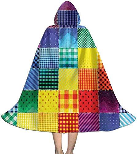 Romance-and-Beauty Capa del Cabo para nios Disfraces con Capucha de Halloween geomtricos Cuadrados de Colores del Arco Iris