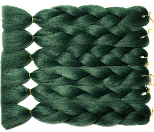 Blondwigs Ombre Jumbo Crochet Braids Hair High-temperature Synthetic fiber Braiding Hair Extensions 24inch (6Pcs/Lot, Green)