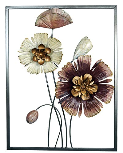 khevga mantiburi - Cuadro decorativo (metal, 38 x 50 cm), diseño de flor