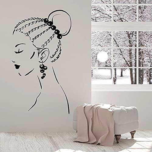 HGFDHG Adesivi murali Bella Ragazza Faccia trecce acconciatura Orecchini Adesivi per finestre in Vinile Salone di Bellezza Ragazze Camera da Letto Decorazione d'interni