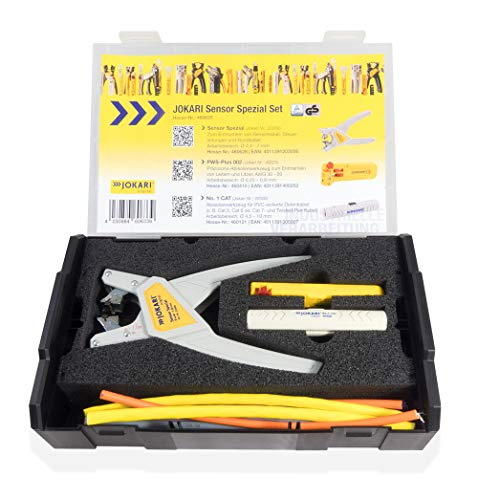 JOKARI 460633 3-Piece Processing Set (Wire Stripper Pliers Precision Stripping Tool for Sensor, Conductors and Strands, Data Cables)