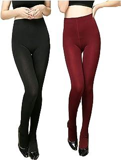 Yulaixuan 2 Paar Damen warme Hosen extra groß und verlängern dicke Strumpfhosen der Trainingshose für Herbst- und Winterstrumpfhosen