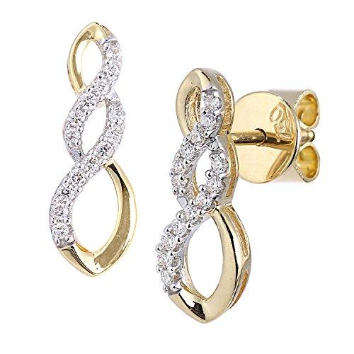 Naava Orecchini a Perno da Donna, Oro Giallo, 18 Carati, Diamante