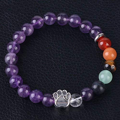 Stone Bracelet,Vintage Gothic Unisex 7 Chakra Natural Beads Adjustable Bangle Silver-Color Bear Paw Crystal With Amethyst Stone Beaded Bracelets For Women Birthday Party Men Friend Gift