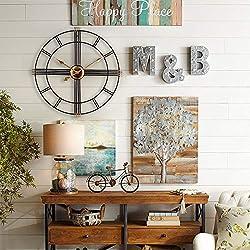 Large Wall Clock, European Royal Vintage Art Clock, Indoor Silent Battery Operated Metal Decorative Clock for Home, Loft, Living Room, Kitchen, Den - 20 Inch, Black & Gold